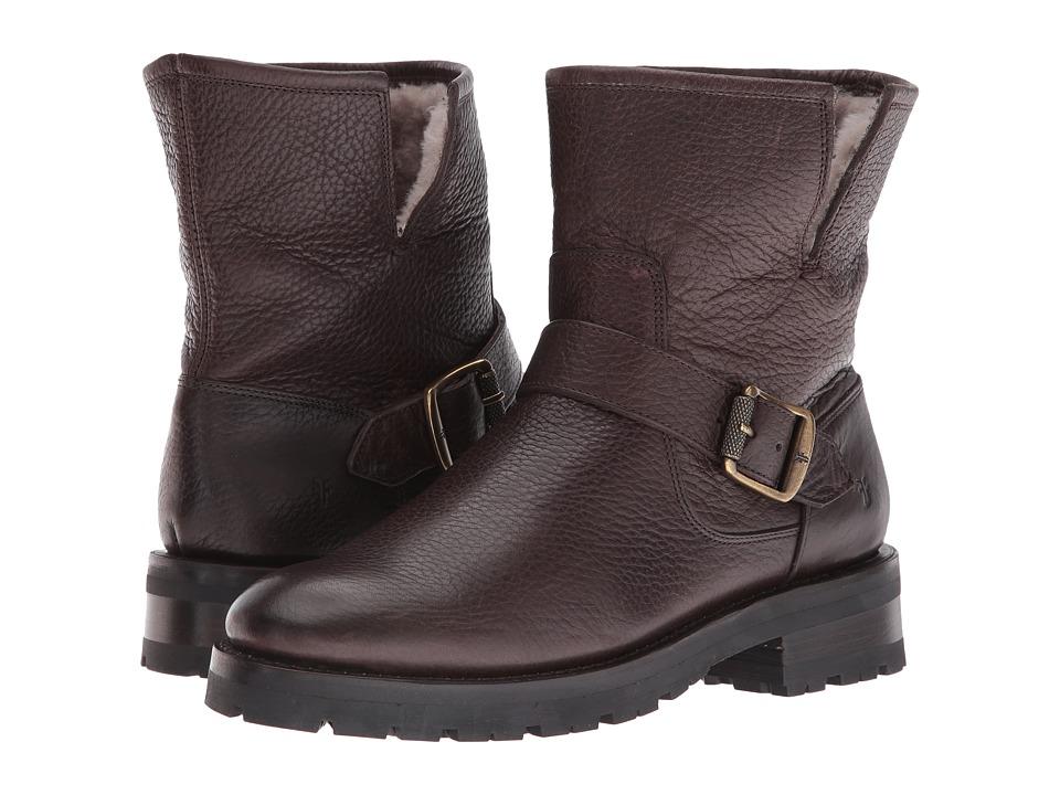 Frye Natalie Short Engineer Lug Dark Brown Waterproof Waxed Pebbled Leather-Shearling Womens Pull-on Boots