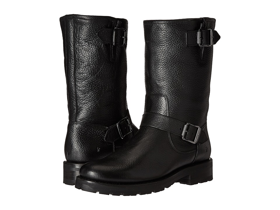 Frye - Natalie Mid Engineer Lug (Black Waterproof Waxed Pebbled Leather/Shearling) Women's Pull-on Boots