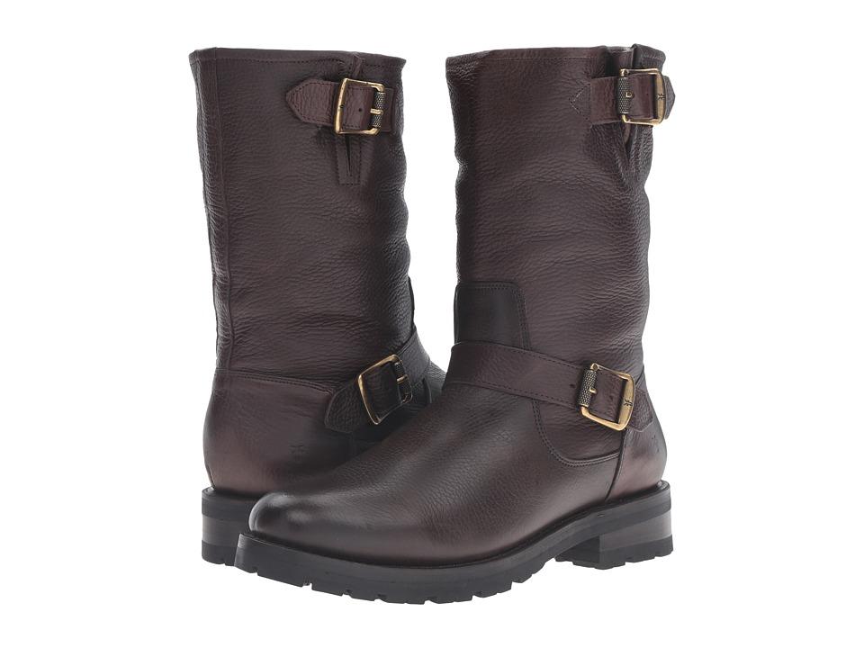 Frye Natalie Mid Engineer Lug Dark Brown Waterproof Waxed Pebbled Leather-Shearling Womens Pull-on Boots