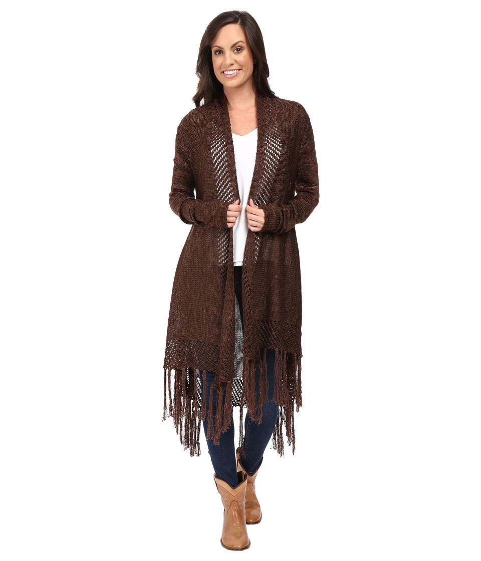 Ariat - Fringe Cardigan (Brown/Ivory) Women's Sweater