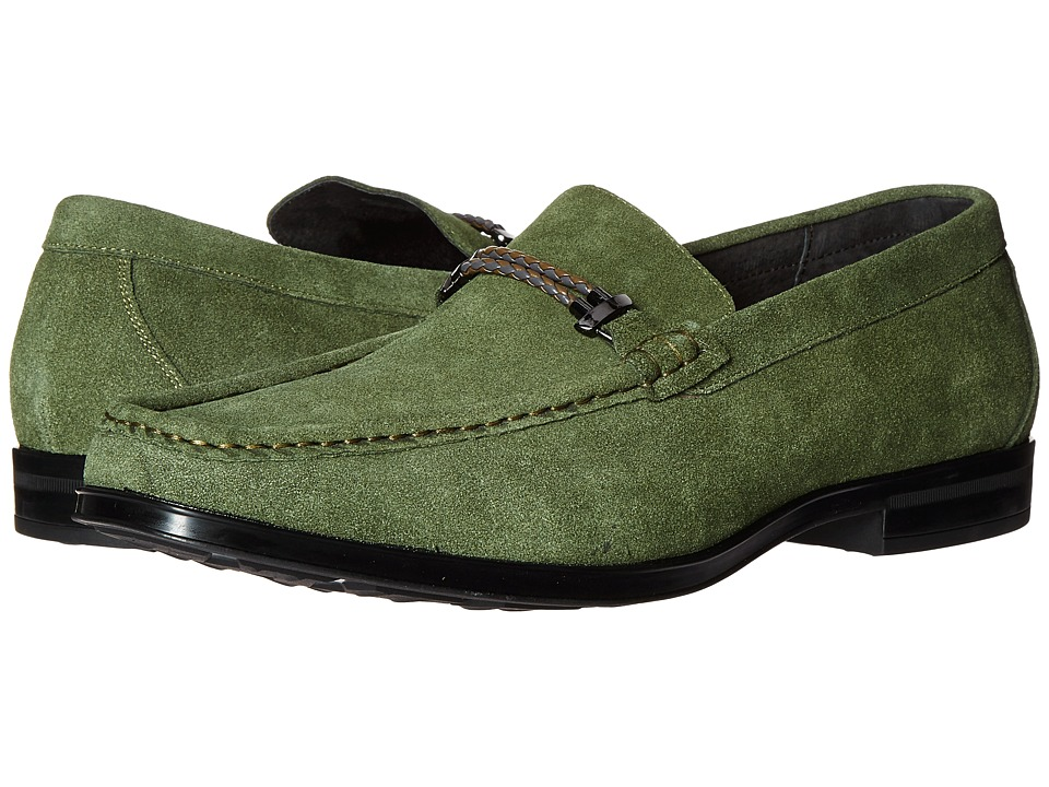 Stacy Adams Nesbit Moc Toe Braided Strap Slip-On (Olive Suede) Men