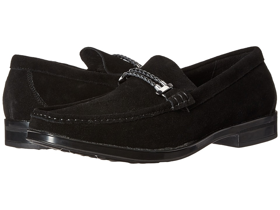 Stacy Adams Nesbit Moc Toe Braided Strap Slip-On (Black Suede) Men