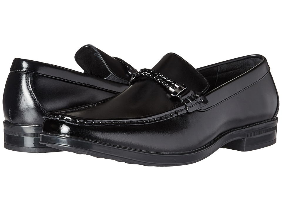 Stacy Adams Nevan Moc Toe Braided Strap Slip-On (Black) Men