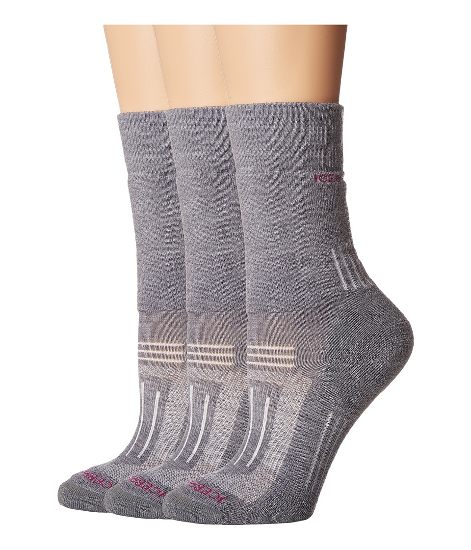 Icebreaker - Hike Medium Crew 3-Pair (Twister Heather) Women's Crew Cut Socks Shoes
