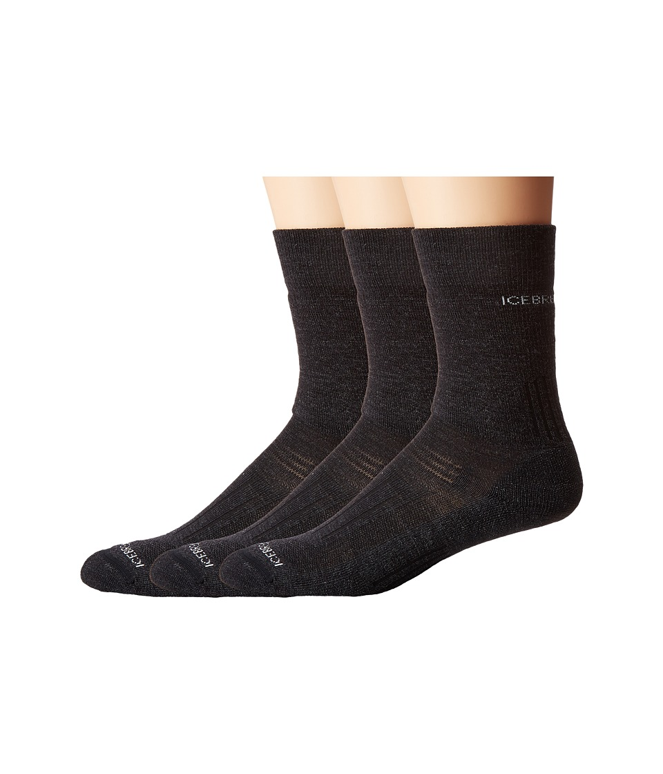 Icebreaker - Hike Medium Crew 3-Pair (Jet Heather) Men's Crew Cut Socks Shoes