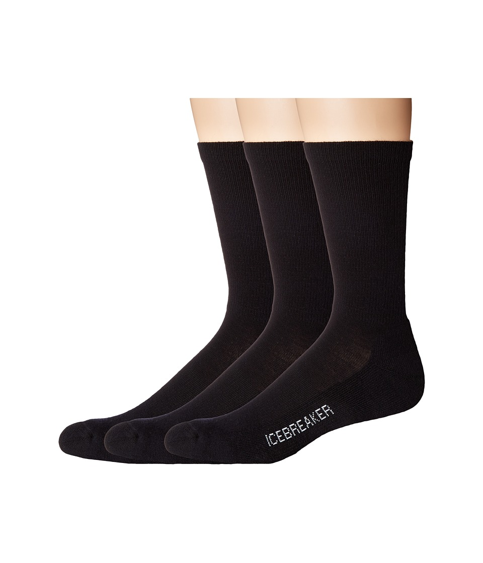 Icebreaker - Lifestyle Light Crew 3-Pair (Black) Men's Crew Cut Socks Shoes