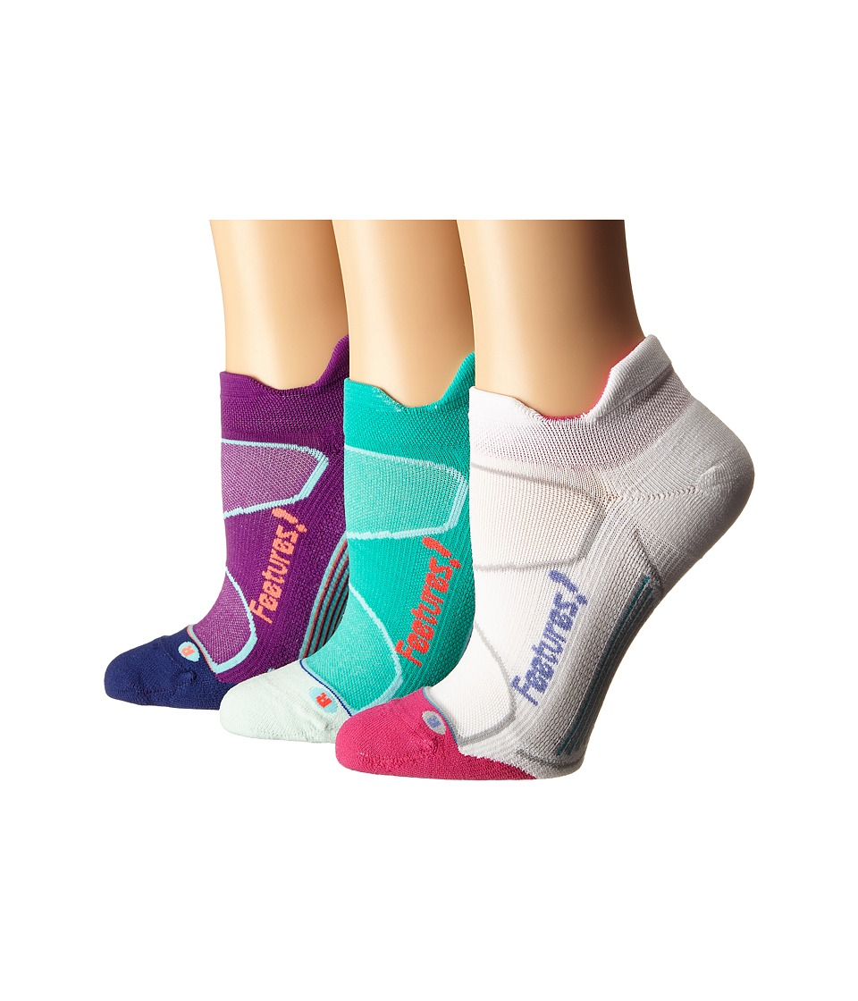 Feetures - Elite Light Cushion No Show Tab 3-Pair Pack (Ultraviolet/Coral/Altantis/Lava/White/Periwinkle) No Show Socks Shoes