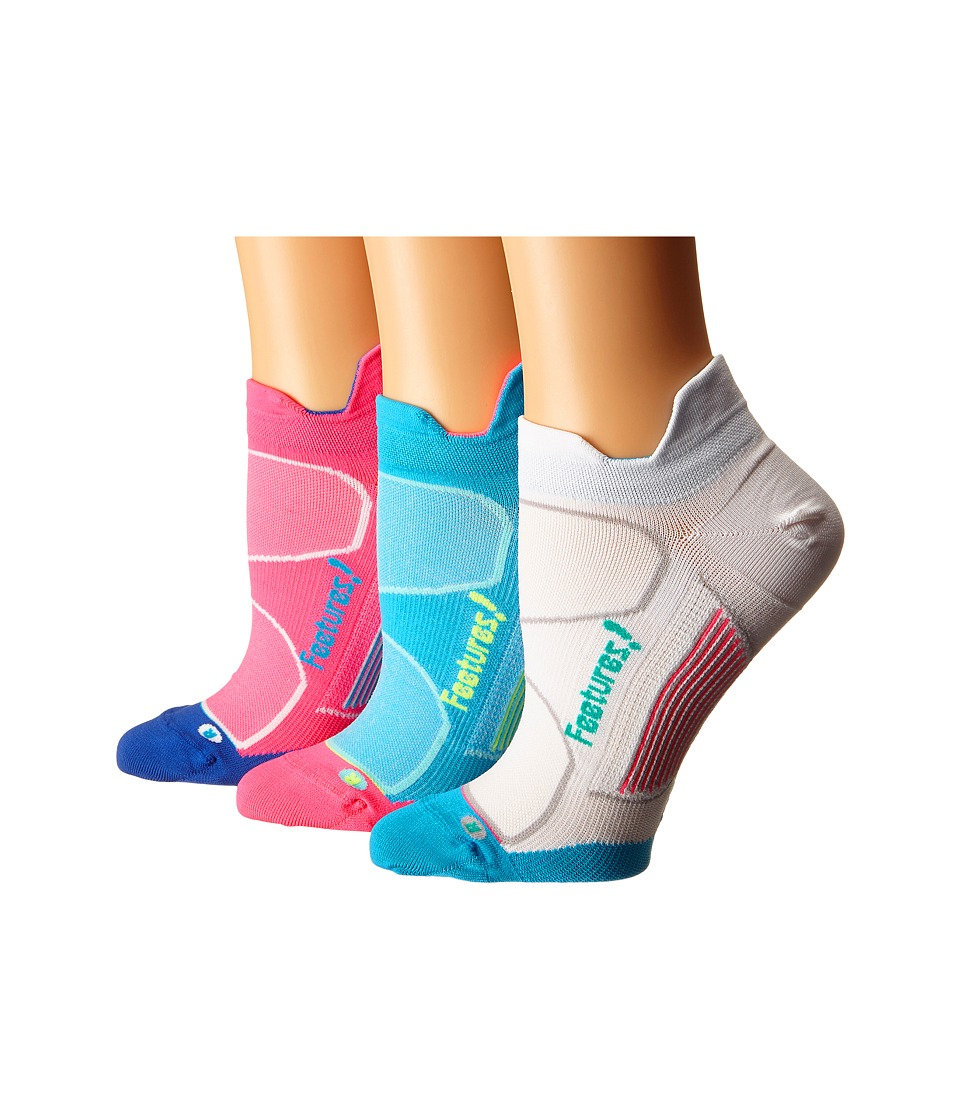 Feetures - Elite Ultra Light No Show Tab 3-Pair Pack (Electric Pink/Hawaiian Blue/Hawaiian Blue/Reflector/White/Atlant) No Show Socks Shoes