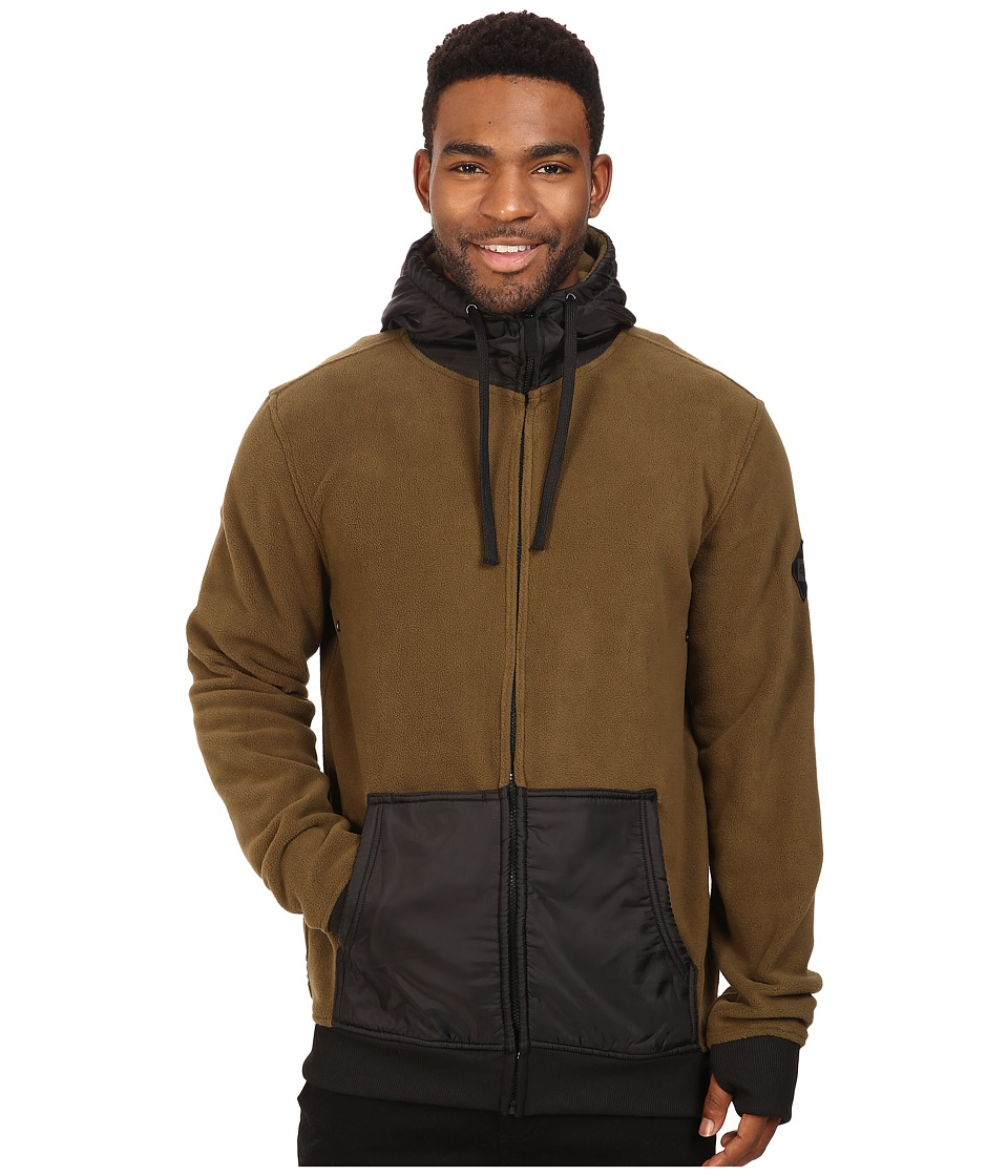 686 - Icon Polar Zip Fleece Hoodie (Olive) Men's Sweatshirt
