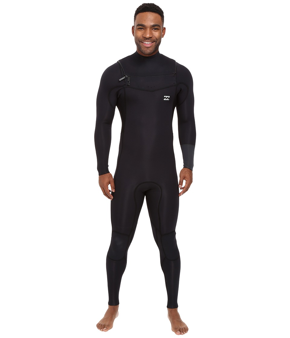Billabong - 4/3 Revolution Tri Bong Long Sleeve Chest Zip Wetsuit (Black) Men's Wetsuits One Piece