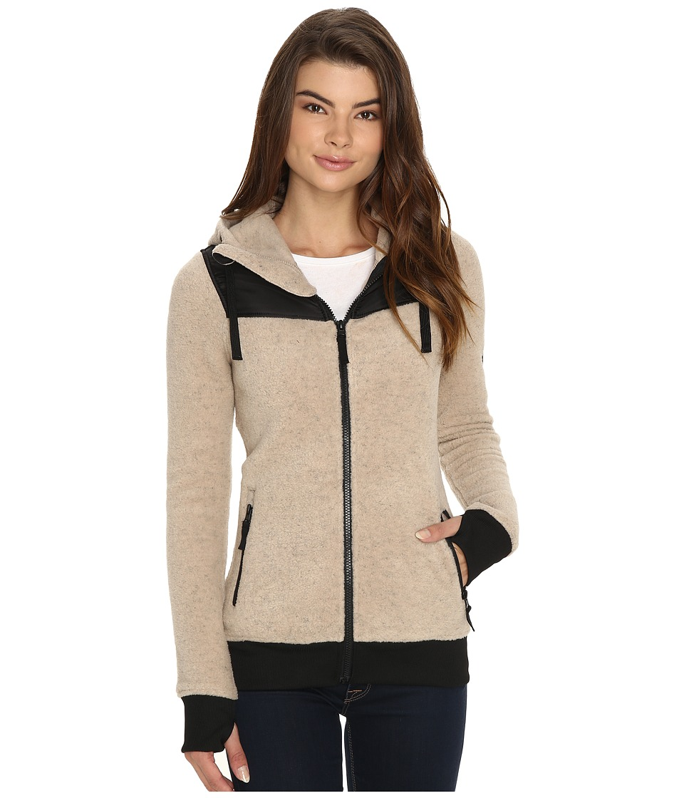 686 - Floral Polar Zip Fleece Hoodie (Oatmeal) Women's Sweatshirt