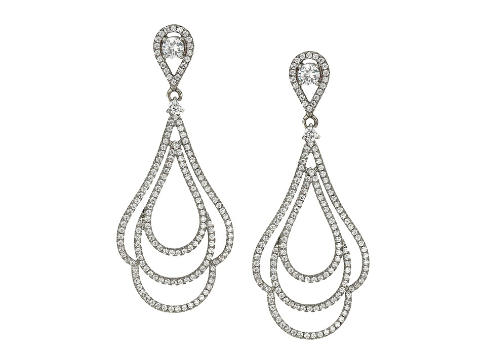 Nina - Micro Pave Swirl Earrings (Palladium/CZ) Earring