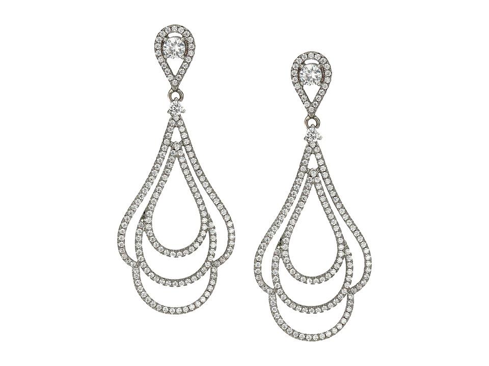 Nina - Micro Pave Swirl Earrings (Palladium/CZ) Earring