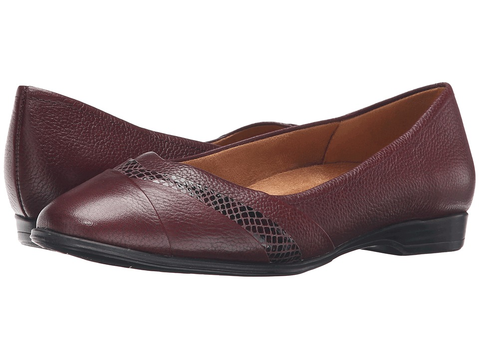 Naturalizer - Jaye (Classic Cordovan Leather/Printed Snake) Women's Flat Shoes