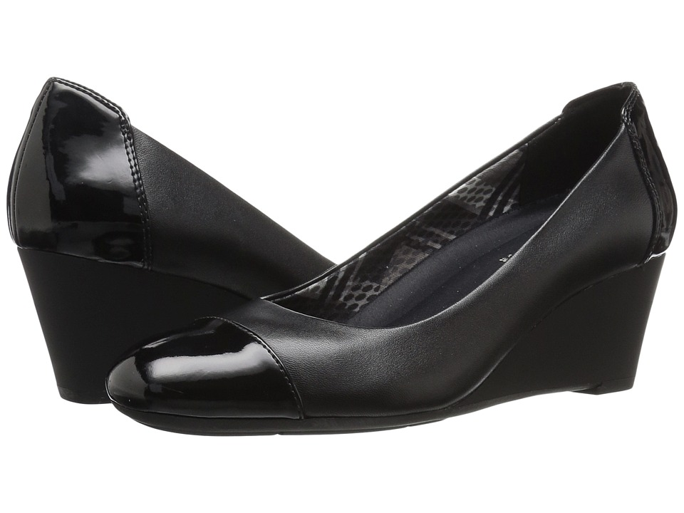 Naturalizer - Necile (Black Leather/Shiny) Women's Wedge Shoes