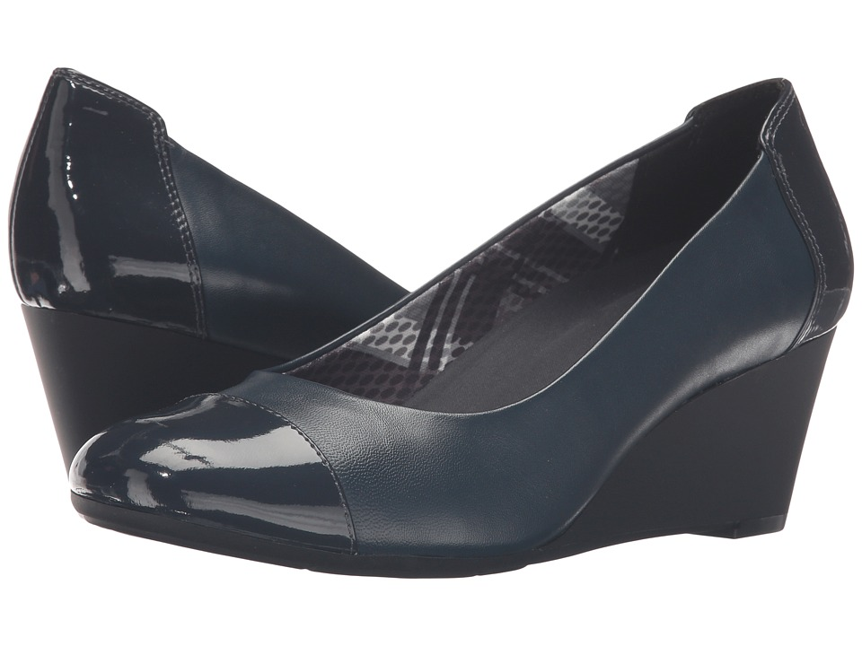 Naturalizer - Necile (Classic Navy Leather/Shiny) Women's Wedge Shoes