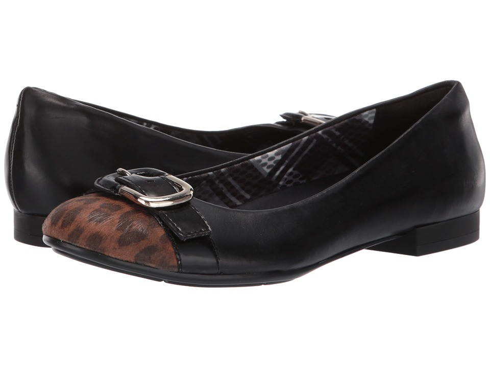 Naturalizer - Tisha (Black Leather/Leopard Printed Fabric) Women's Shoes