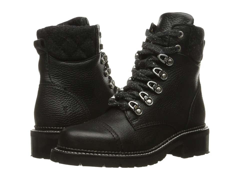 Frye - Samantha Hiker (Black Waterproof Waxed Pebbled Leather/Quilted Wool) Women's Lace-up Boots