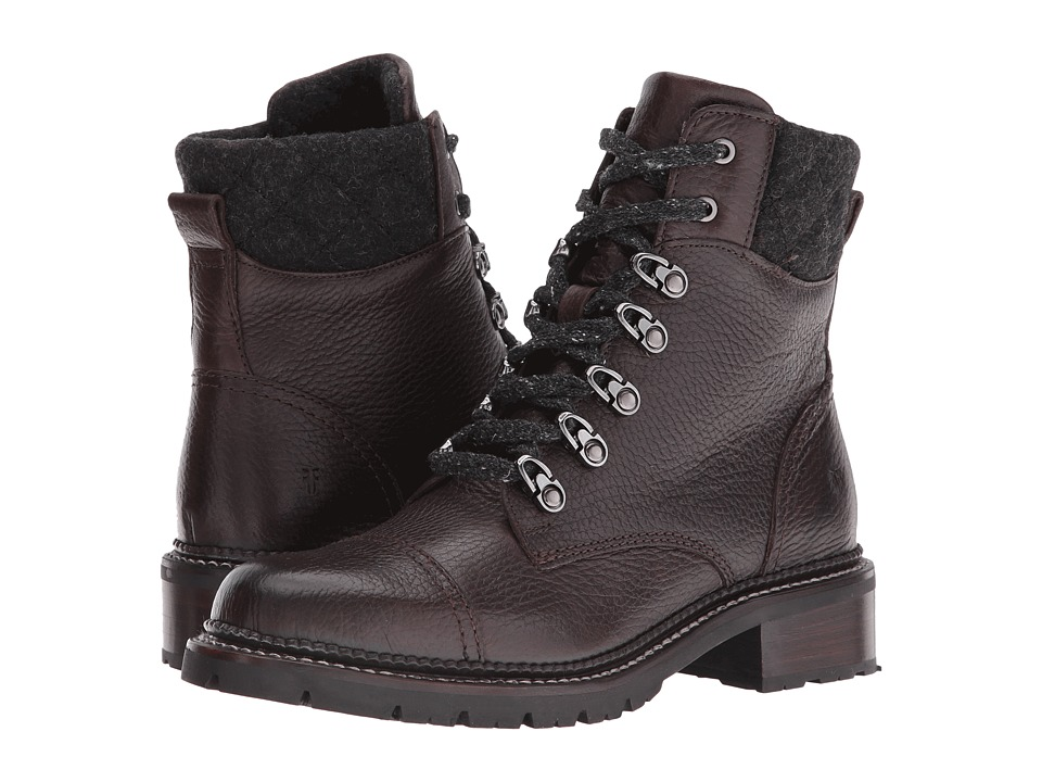 Frye - Samantha Hiker (Dark Brown Waterproof Waxed Pebbled Leather/Quilted Wool) Women's Lace-up Boots