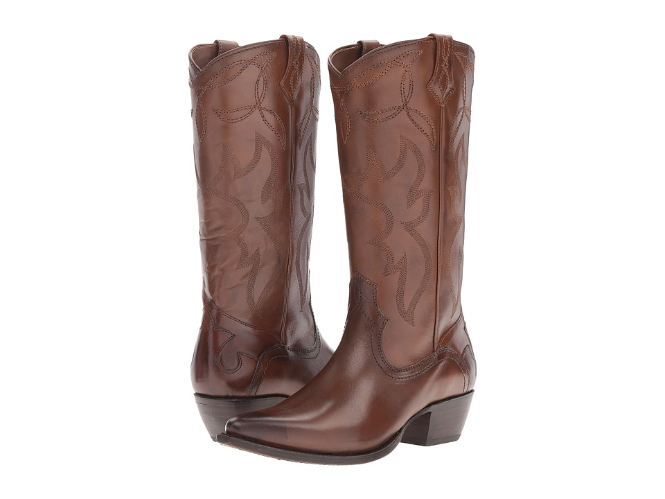 Frye - Shane Embroidered Tall (Whiskey Smooth Veg Calf) Cowboy Boots