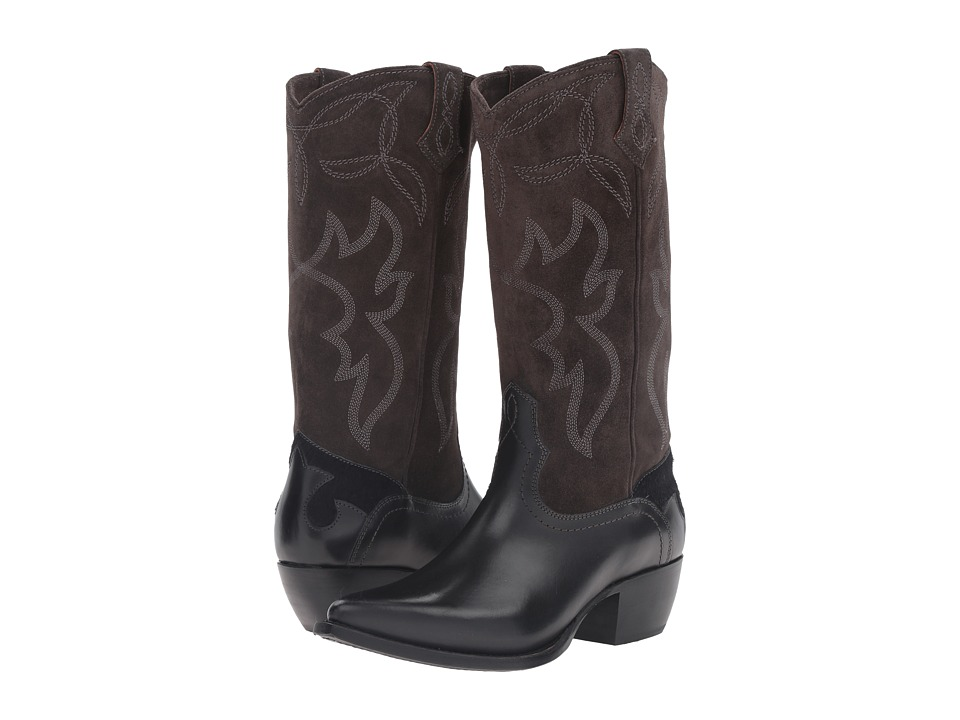 Frye - Shane Embroidered Tall (Charcoal Smooth Veg Calf) Cowboy Boots