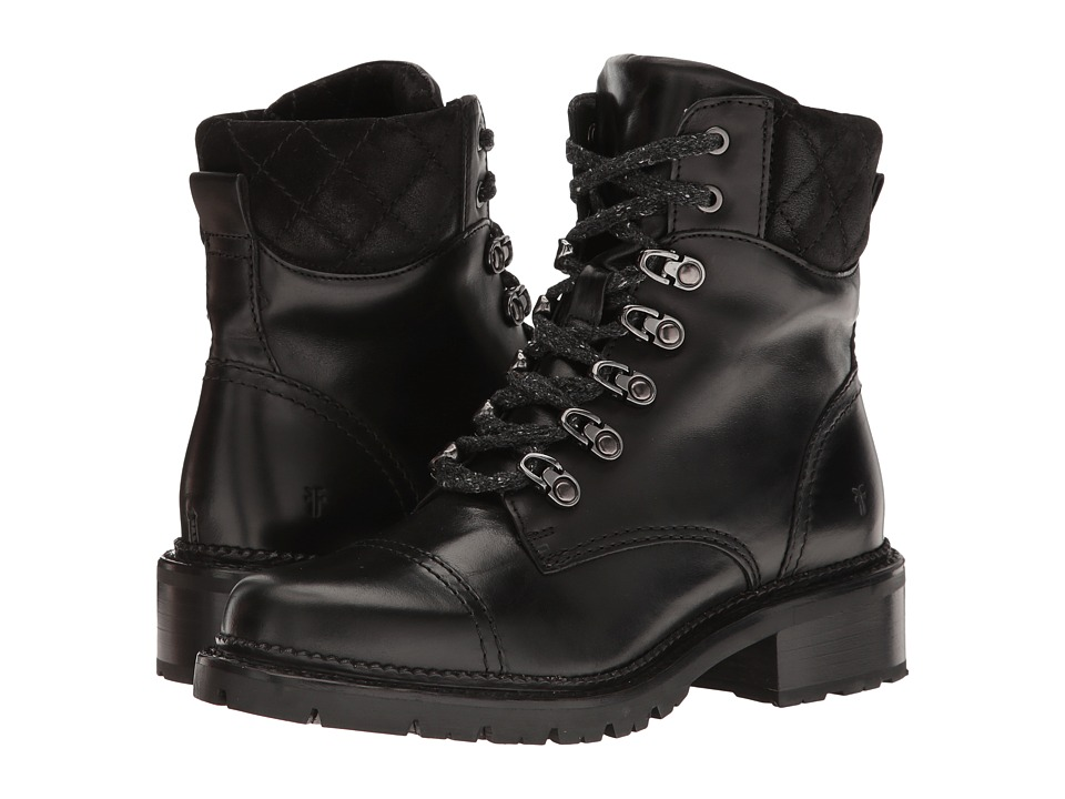 Frye - Samantha Hiker (Black Smooth Veg Calf/Oiled Suede) Women's Lace-up Boots