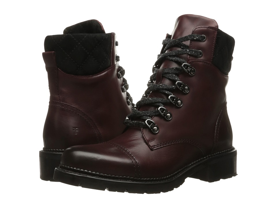 Frye Samantha Hiker Bordeaux Smooth Veg Calf-Oiled Suede Womens Lace-up Boots