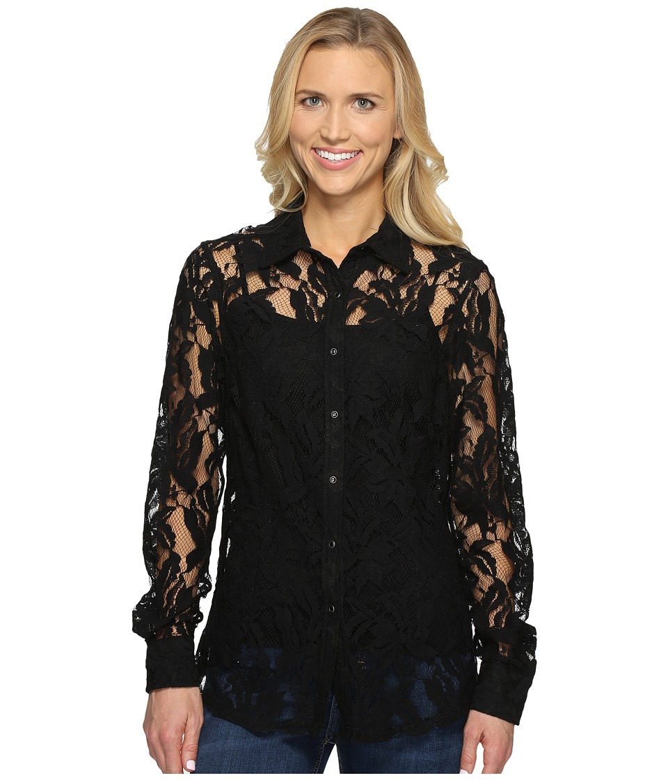 Ariat - Lace Snap Shirt (Black) Women's Long Sleeve Button Up