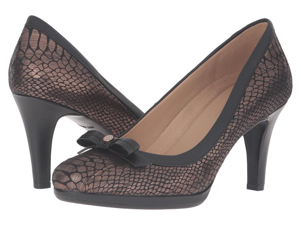 Naturalizer - Maizie (Bronze Printed Snake/Black Leather) High Heels