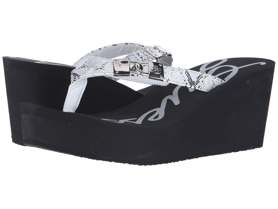 GUESS - Sahari (Black/White Eva) Women's Wedge Shoes