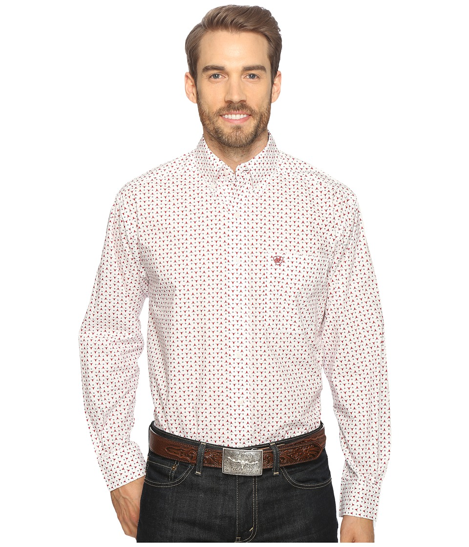 Ariat - Thedford Print Shirt (White) Men's Long Sleeve Button Up