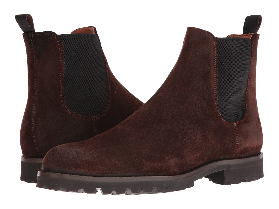 Frye - Edwin Chelsea (Dark Brown Weatherproof Suede) Men's Pull-on Boots