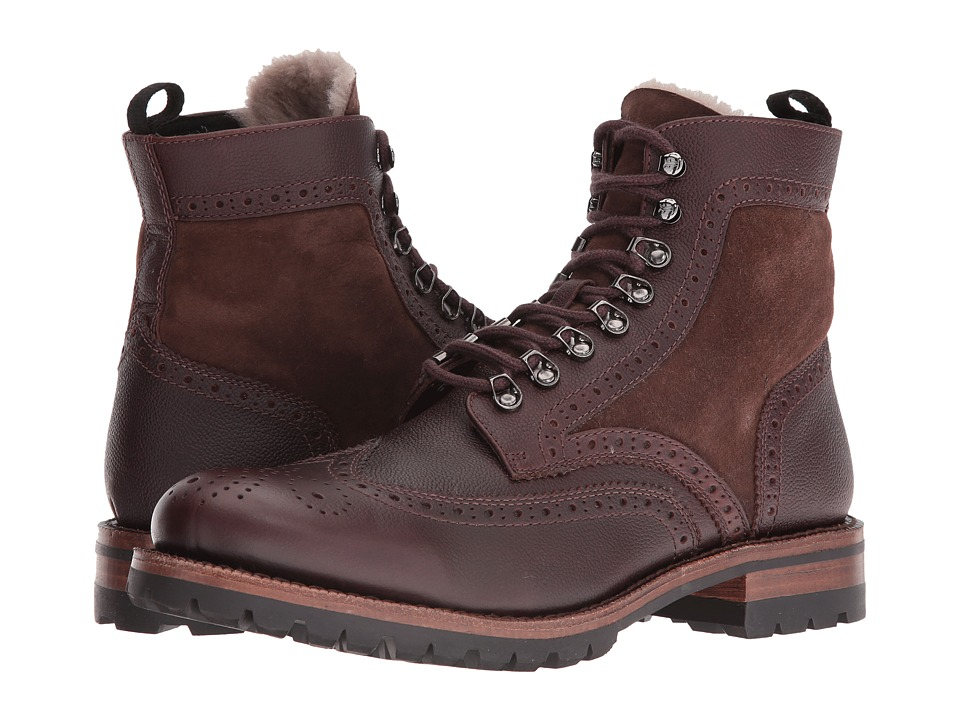 Frye - George Adirondack (Brown WP Scotchgrain/Shearling/Suede) Men's Lace-up Boots
