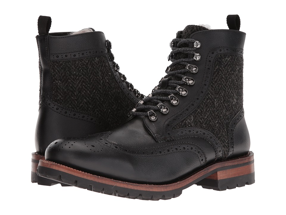 Frye - George Adirondack (Black WP Scotchgrain/Shearling/Tweed) Men's Lace-up Boots