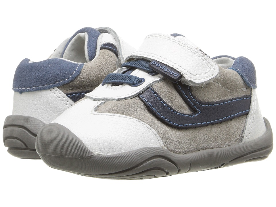 pediped - Cliff Grip n Go (Toddler) (White/Navy) Boy's Shoes