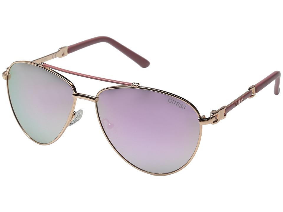 GUESS - GF0292 (Rose Gold/Brown Mirror Lens) Fashion Sunglasses