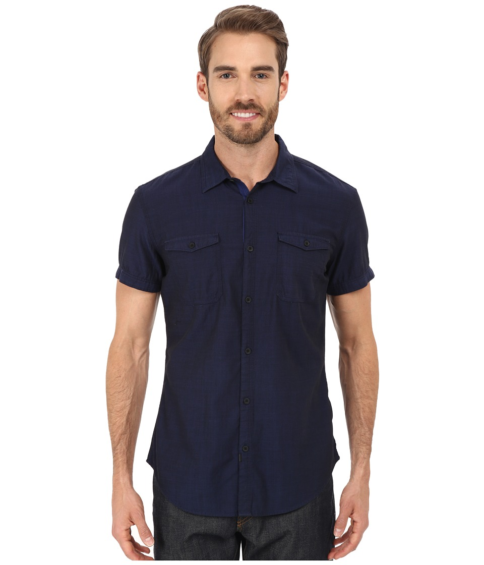 Calvin Klein Jeans - Short-Sleeve End-On-End Utility Shirt (Blue Print) Men's Short Sleeve Button Up