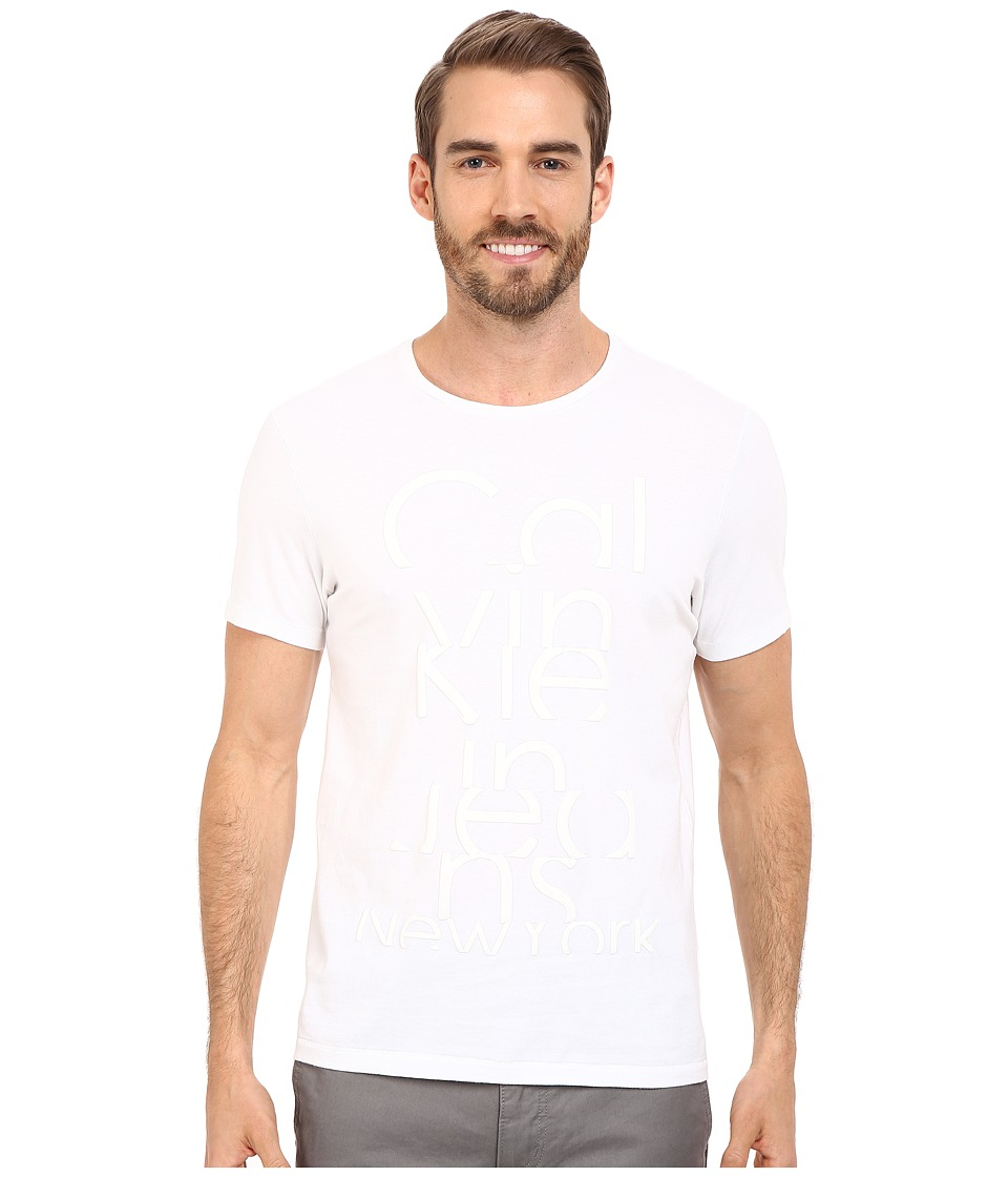 Calvin Klein Jeans - Broken Logo Nylon Crew Neck Tee (White) Men's Short Sleeve Pullover