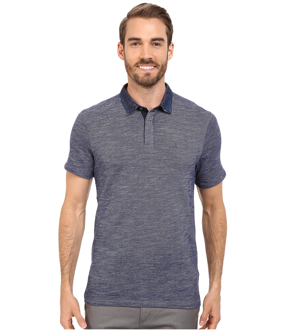 Calvin Klein Jeans - Slim Fit Denim Collar Polo Shirt (Blue Inhibition) Men's Short Sleeve Pullover