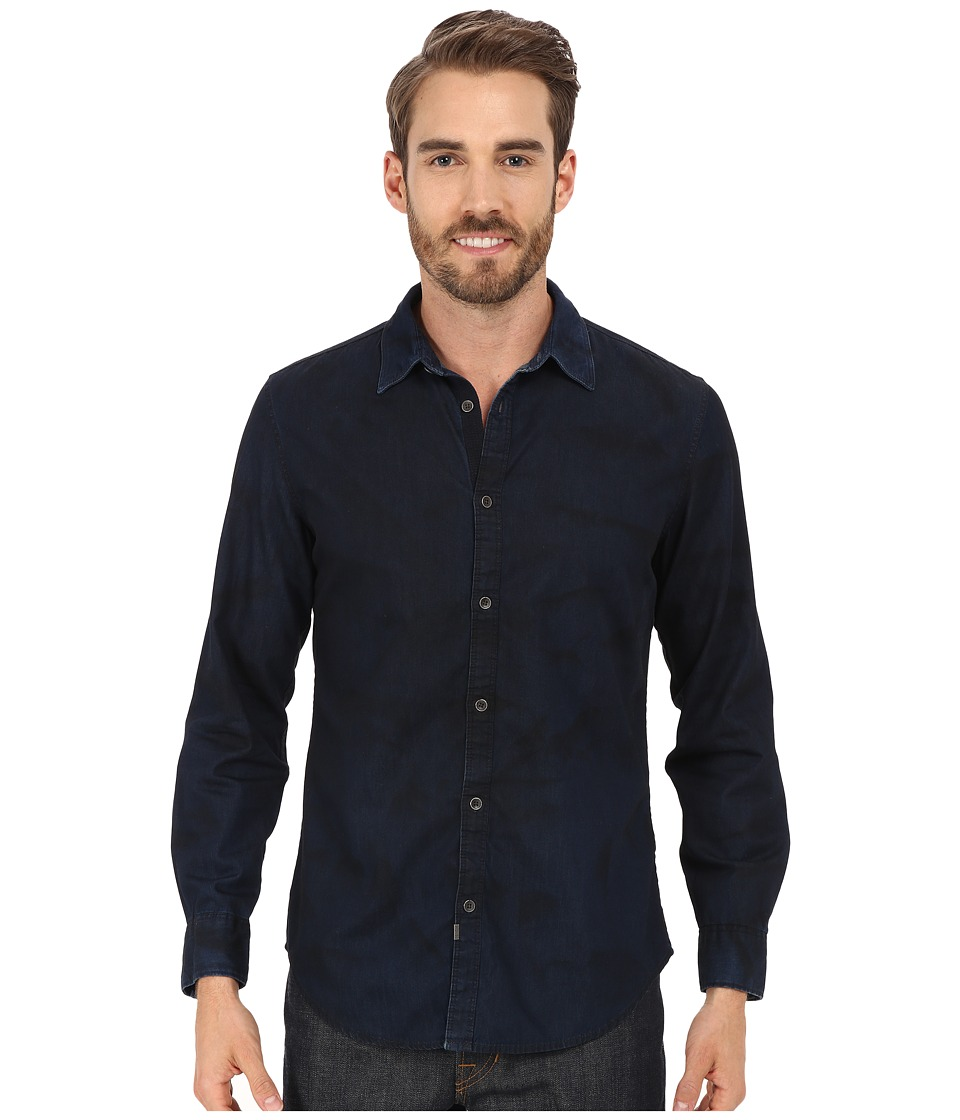 Calvin Klein Jeans - Dark Spray Wash Denim Shirt (Indigo) Men's Long Sleeve Button Up