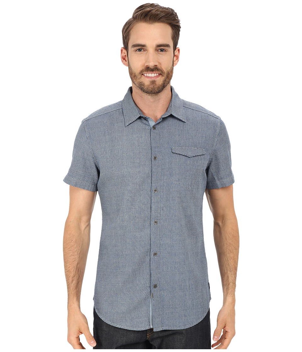 Calvin Klein Jeans - Discharge Dot Print (Dark Indigo) Men's Short Sleeve Button Up
