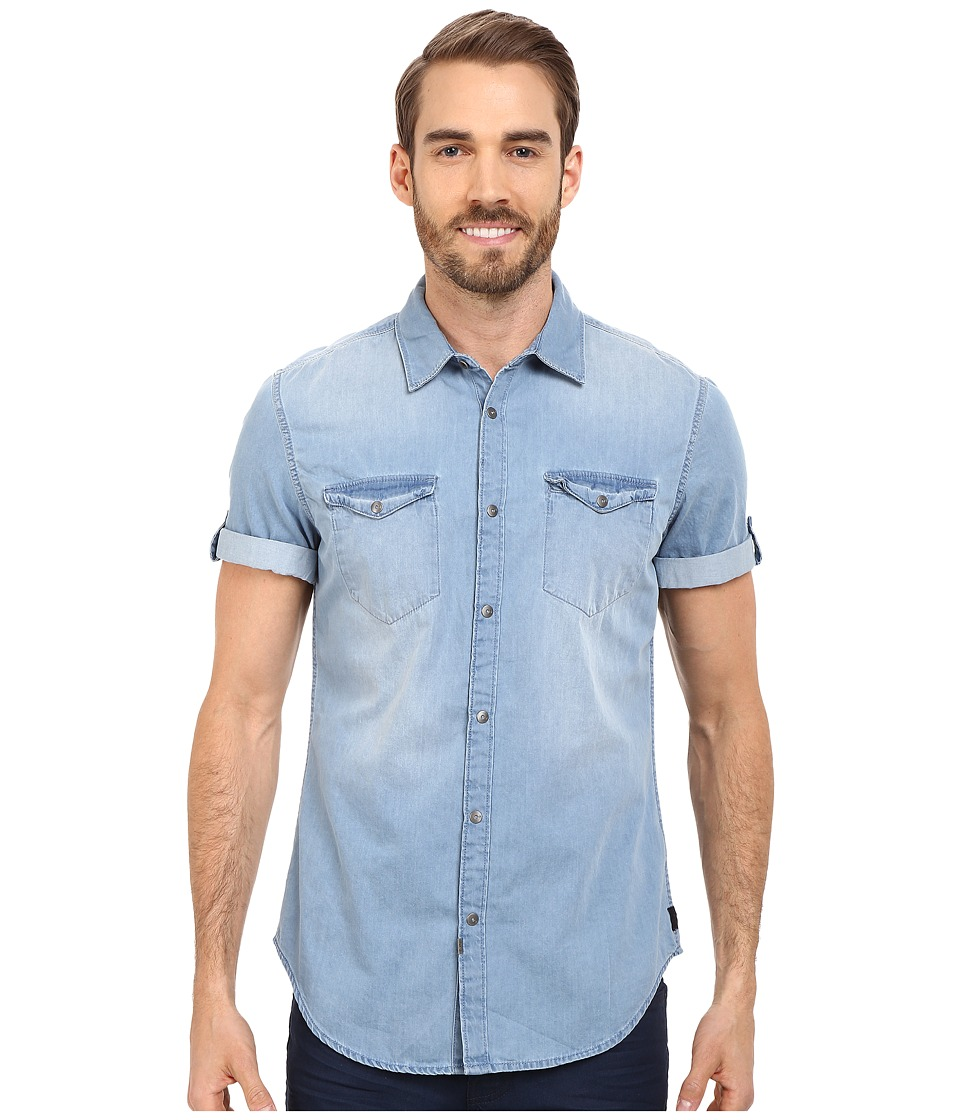 Calvin Klein Jeans - Short Sleeve Shirt (Mid Bleu Wash) Men's Short Sleeve Button Up