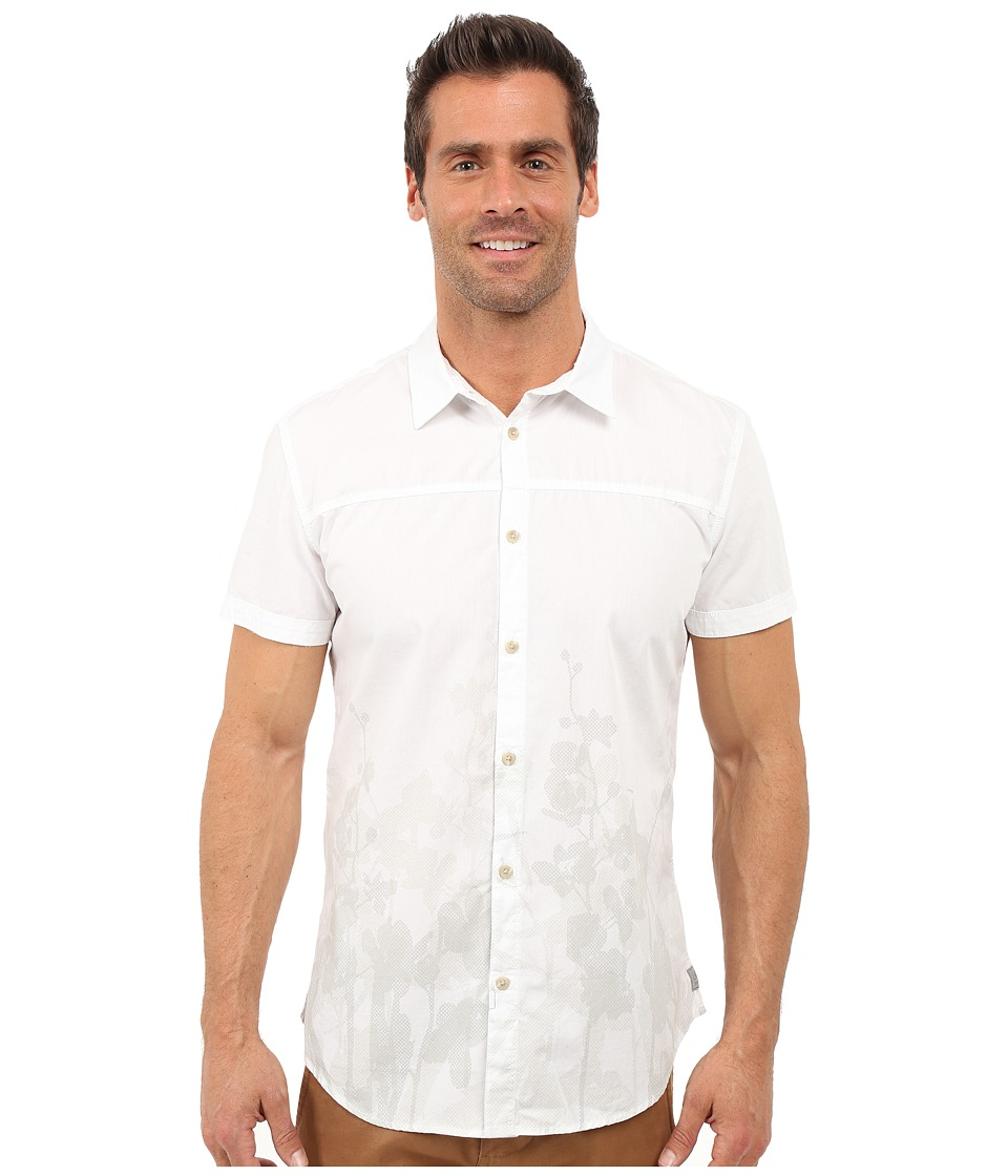 Calvin Klein Jeans - Slim Fit Faded Floral Print Short Sleeve Shirt (White) Men's Clothing