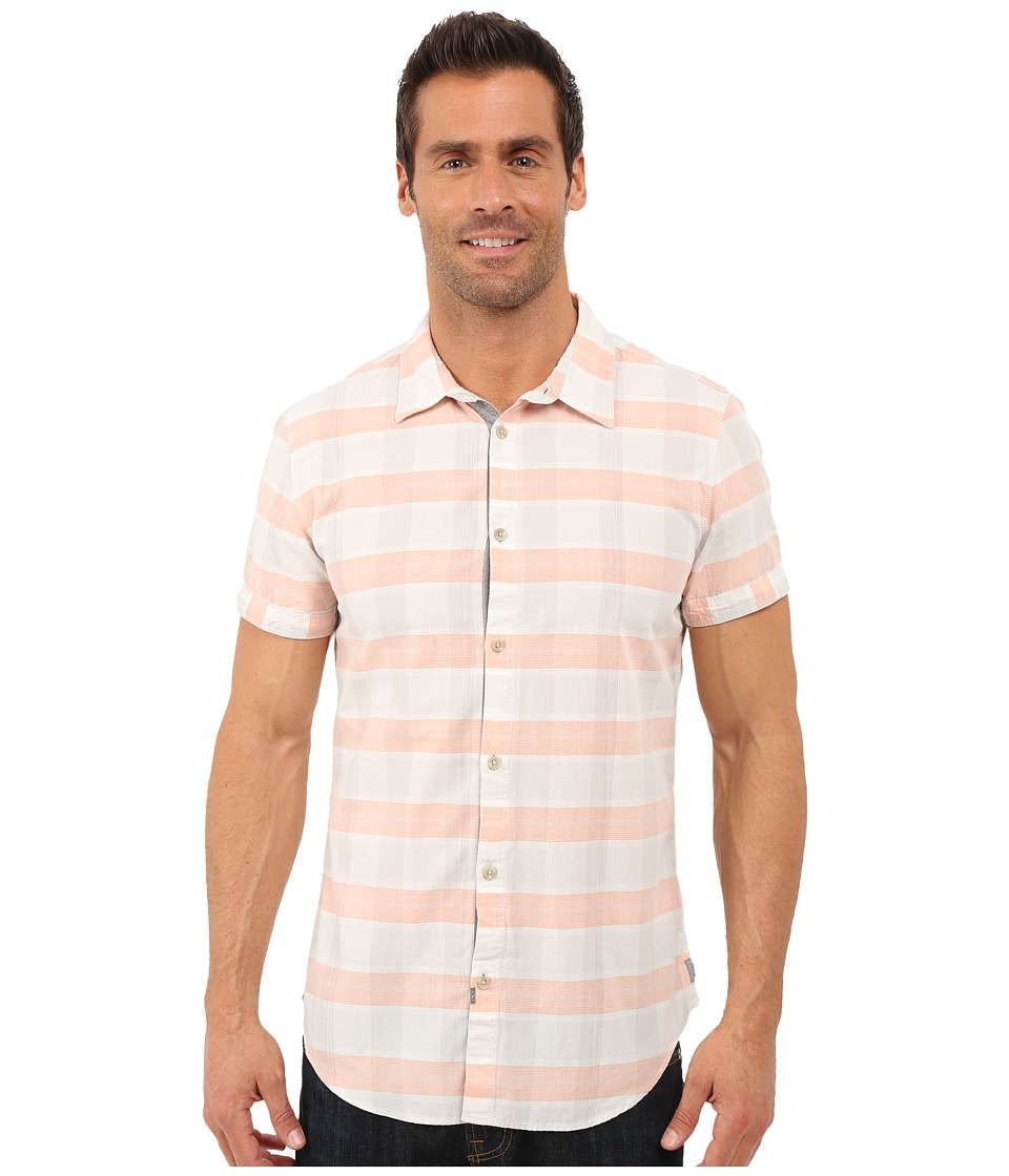 Calvin Klein Jeans - Slim Fit Open Space Checked Shirt (Coral Pink) Men's Clothing