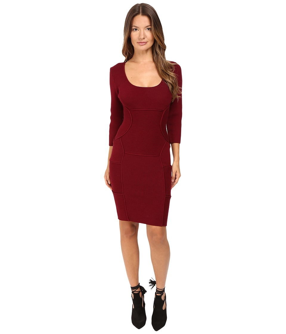 DSQUARED2 - Bodycon Long Sleeve Dress (Bordeaux) Women's Dress