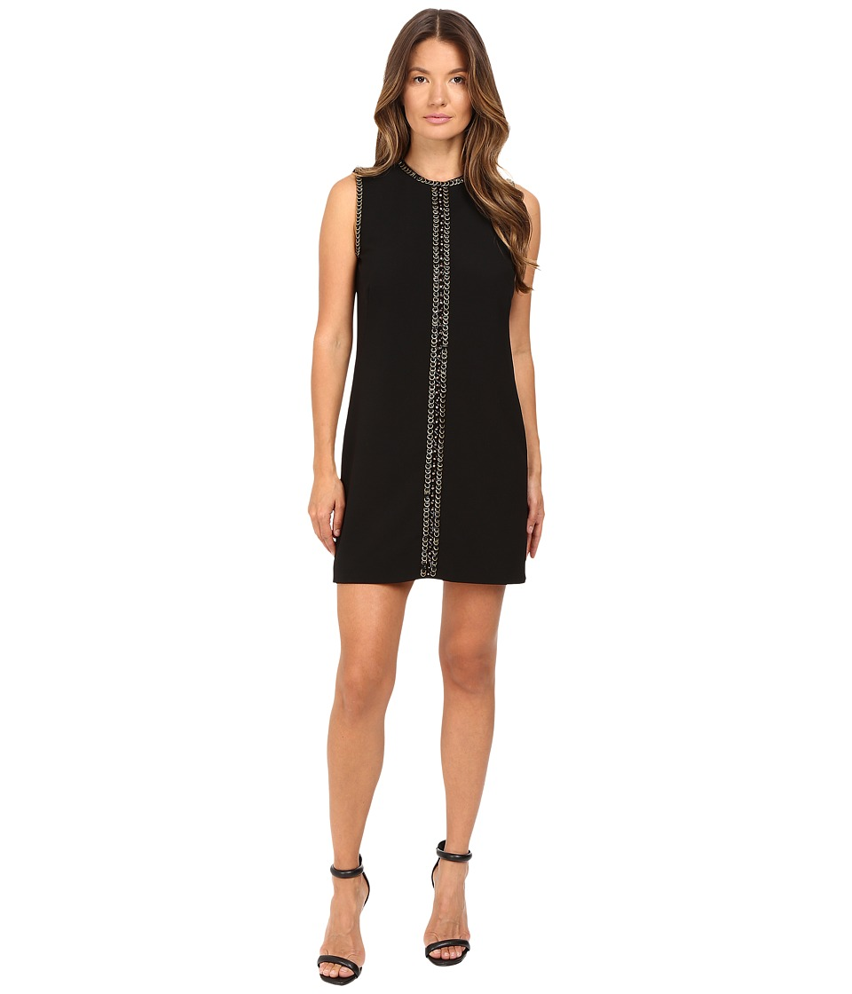 DSQUARED2 Stretch Wool Chaine Embroidery Sleeveless Mini Dress (Black) Women
