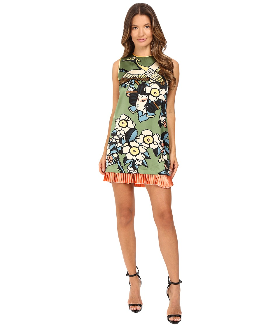 DSQUARED2 - Fantasy Printed Silk Cherry Blossom Silk Mini Dress (Green) Women's Dress