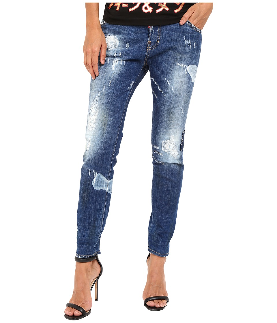 DSQUARED2 - Blanket Patch Destroyed Wash Cool Girl Jeans in Blue (Blue) Women's Jeans