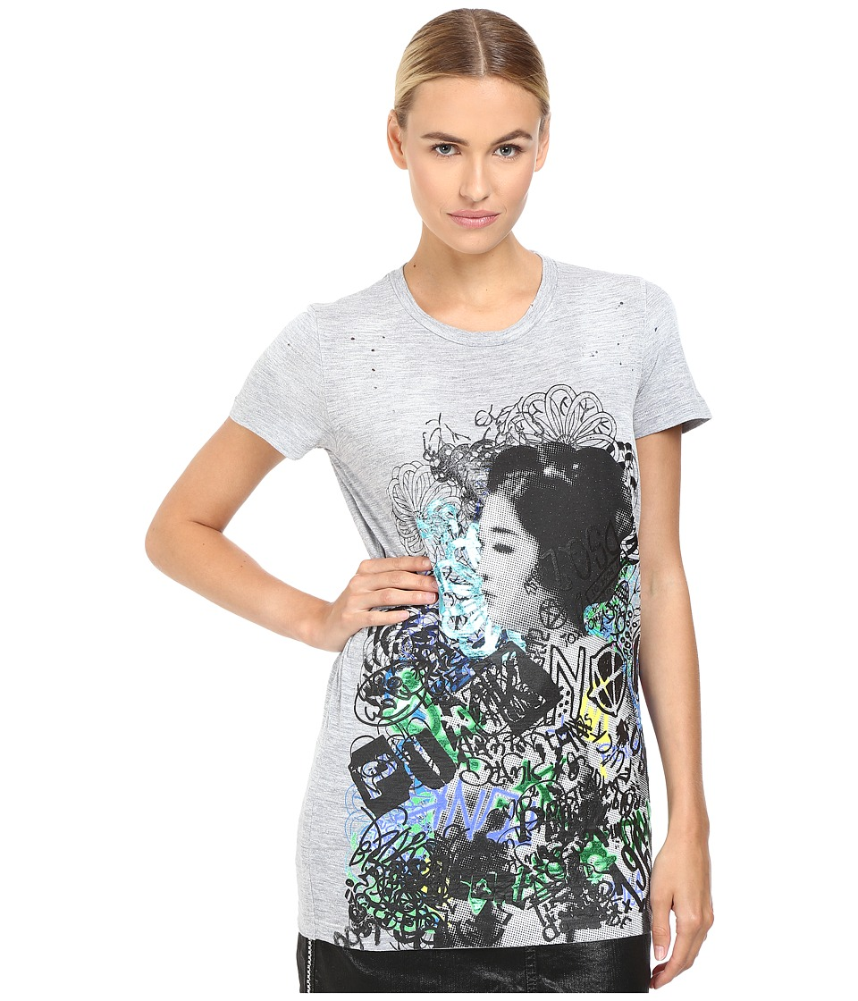 DSQUARED2 Geisha Screen Liza Fit Tee (Grey Melange) Women