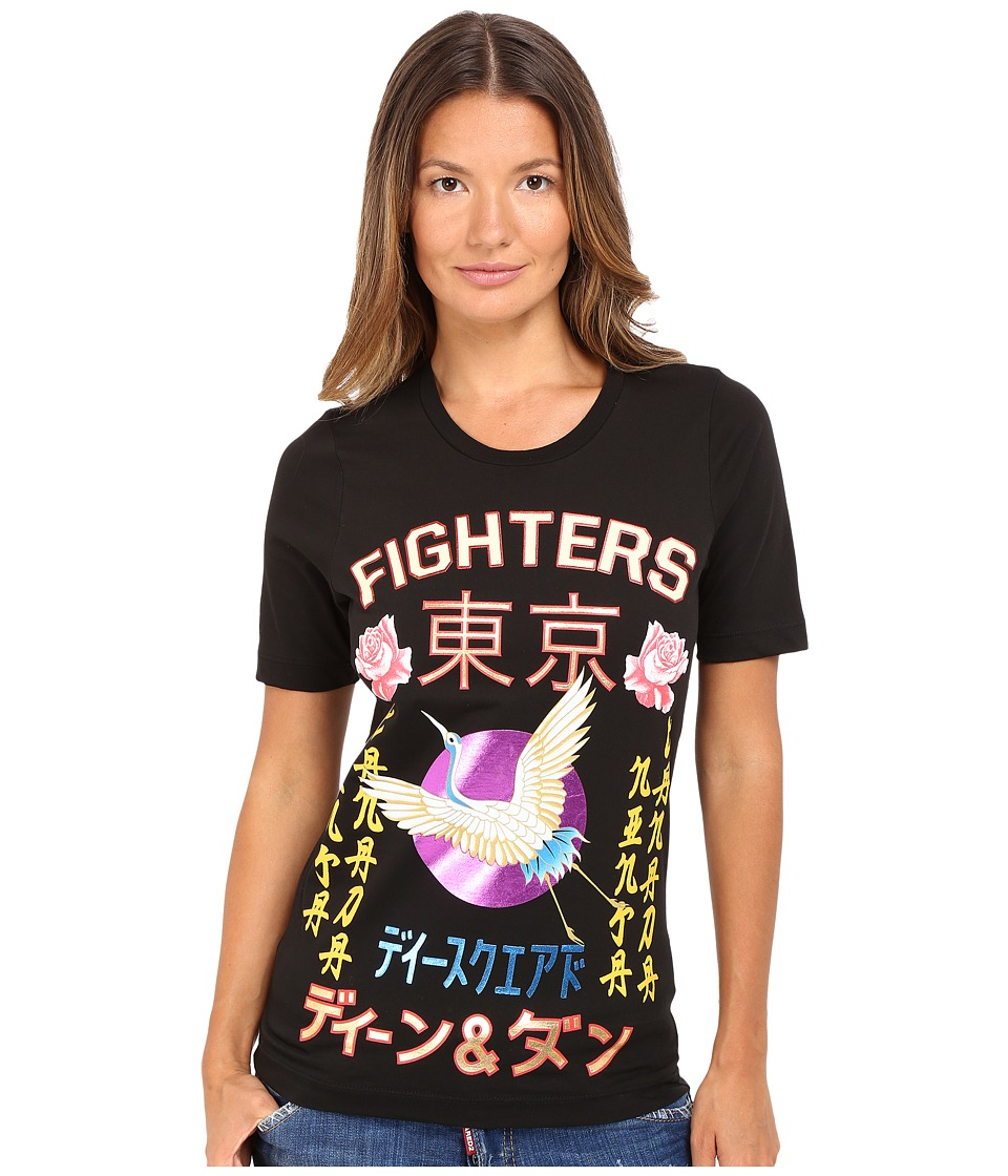 DSQUARED2 - Fighters Kanji Screen Renny Fit Tee (Black) Women's T Shirt